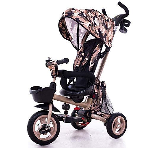 GJJSZ Triciclo para niños,4 en 1 Triciclo Plegable para niños 12 Meses a 6 años Cochecito de bebé Giratorio 360 ° Toldo Solar Plegable Triciclos para niños con asa para Padres,A
