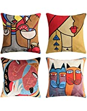 Topfinel set van 4 Picasso kussenhoes 45x45cm Vintage geborduurd abstract patroon in katoen-linnen decoratieve kussenhoezen voor banken Moderne slaapkamer Kantoorauto