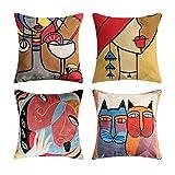 Topfinel Lot de 4 Housse de Coussin Picasso 45x45 cm Decoration Canapé Housse Coussin Vintage en Lin Brodé de Chat et Femme pour Decor Chambre Salon Lit Voirture