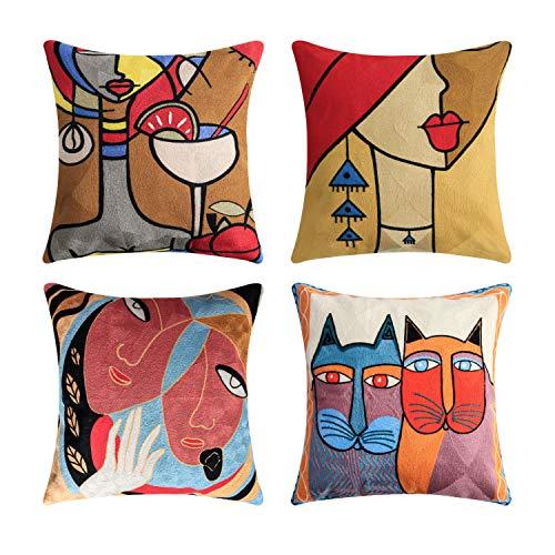 Topfinel Kissenbezüge mit Stickerei in Baumwolle Picasso Design Dekokissen Kissenhülle 4er Set 45x45cm Katze und Mädchen
