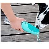 DZL- Botella Agua Perro Botella de Agua para Mascotas Bebedero Portátil de Viaje para Perros y Gatos Fuente Portátil para Mascotas 400ML (Azul)