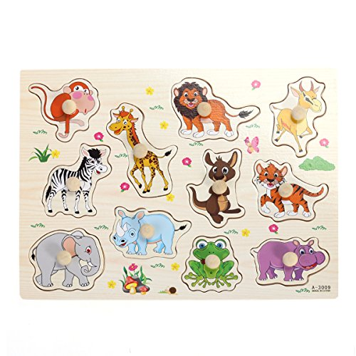 TOYMYTOY Puzzle Animali Selvatici Puzzle a Incastro in Legno con 11 Animali per Giochi Bambini