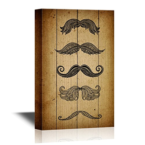 wall26 - Beard Art Canvas Wall Art - Different Types of Beards - Gallery Wrap Modern Home Art | Ready to Hang - 24x36 inches