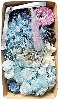 (ナチュラルブルー)カラフルフラワー福袋 ハーバリウム 花材 材料 アロマワックスサシェ プリザーブドフラワー ドライフラワー アジサイ