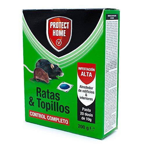Protect Home Raticida en Pasta para Ratas y Topillos, Infestación Alta, Contról Completo, 20 dosis de 10gr, Azul