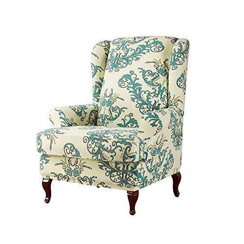 KASHINO Fundas elásticas para sillones con respaldo alado, de poliéster, con diseño de hojas, estampado de flores, funda de 5 sillas