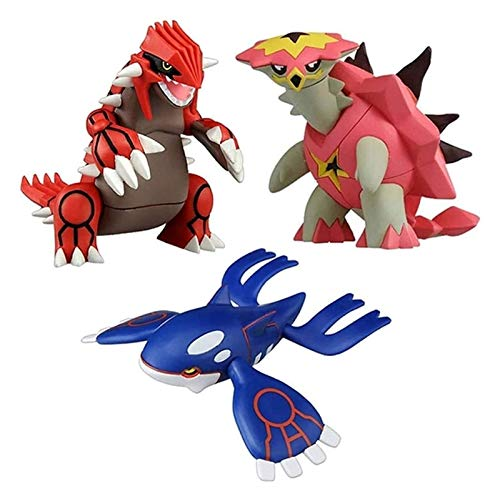 WUTONG Pokemon 9cm Groudon Kyogre Turtonator Action Figure Model Cartoon Anime Gifts Toys For Children 3 Pcs toy figure pokemon plush