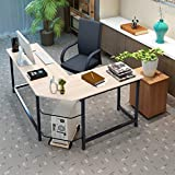 Retrofish Industrial L-Shaped Computer Desk Corner Desk Office Study Workstation PC Table Writing Gaming Gamer Command Center Workstation Desk for Home Office, Easy to Assemble,US Shipping (White)