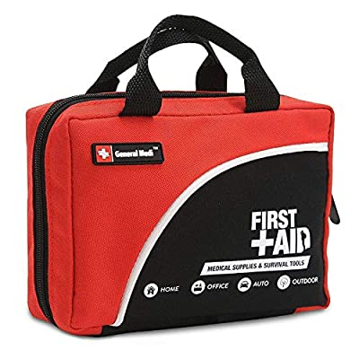 General Medi 160 Piece Premium First Aid Kit Bag - Includes Cold (Ice) Pack, Emergency Blanket for Travel, Home, Office, Car, Camping, Workplace (Red) by HANGZHOU AOSI HEALTHCARE CO.,LTD