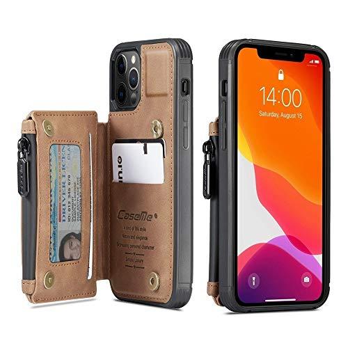 RYRYBH2848 Estuche a Prueba de Golpes de Bloqueo RFID para iPhone 12/12 Pro 6.1-Pulgada 2020, Cierre de Remache magnetizado Dual Agio PU con Cremallera de Cuero con Cremallera Cubierta de la Cubierta