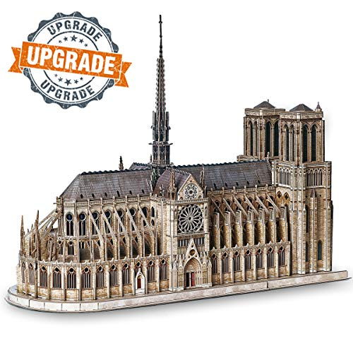CubicFun 3D Puzzle Moveable Architecture Model Large Notre Dame de Paris French, Challenge for Adults Children, Cathedral Architecture Church Building Model Kits, 293 Pieces