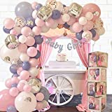 165 pc Baby Shower Decorations for Girl, Birthday Girl, Balloon Garland Arch, Banner and Balloons Boxes, Elephant Baby Shower and Birthday Decorations