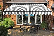 Greenhurst Easy Fit Patio Awning- Kensington 2.5m, 3m and 3.5m (White and Grey Stripe) (2.5m)