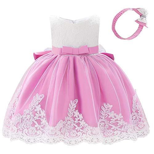 Lito Angels Vestido de encaje para niña con cinta para la cabeza, para cumpleaños, bodas, fiestas de flores, 426 B Polvo Rose 12-18 Meses