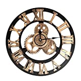 Reloj de pared grande, estilo industrial, vintage, decoración para el hogar, diseño moderno, 3D