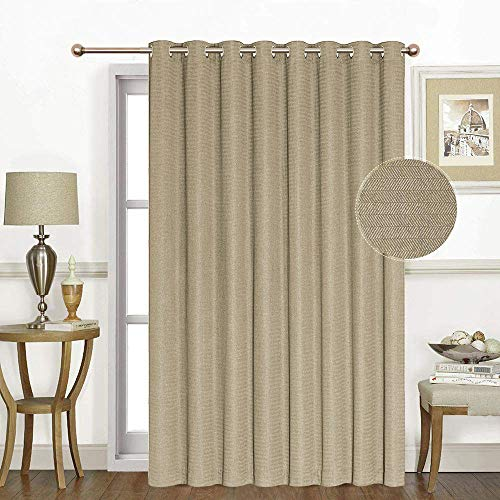 Soft Sliding Glass Door Curtains - Room Darkening Extra Wide Patio Curtain Drapes, Grommet Top Noise Reducing 106