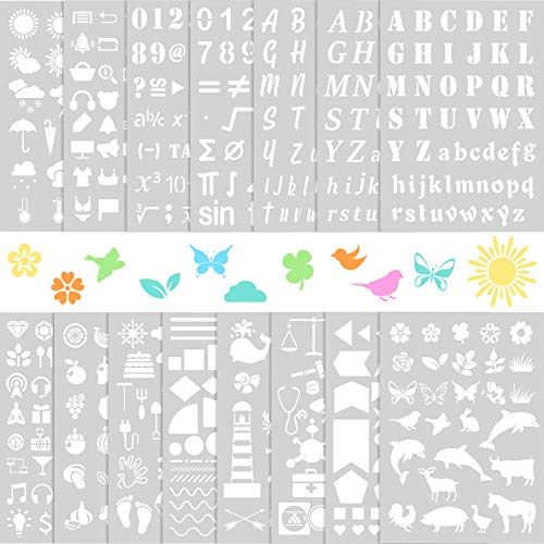 15 Pieces Plastic Stencils, 8.3 x 11.7 Inches Alphabet Letter Stencil Templates Number Drawing Painting Stencils Assorted Pattern Scrapbook Stencils for DIY Painting Wood Floors Paper Door Wall Sign