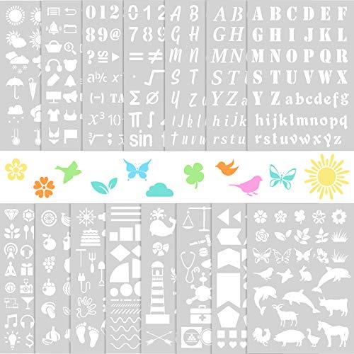 15 Plantillas de Plástico, Plantilla de Letras de Alfabeto de 8,3 x 11,7 Pulgadas Plantillas de Pintura de Dibujo de Número Plantillas de Álbum de Recortes de Patrones Surtidos para Pintura DIY