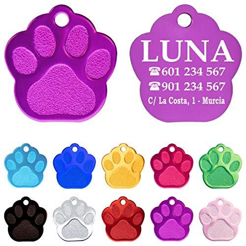 Iberiagifts - Placa en Forma de Huella para Mascotas Medianas-Grandes Chapa Medalla de identificación Personalizada para Collar Perro Gato Mascota grabada (Lila)