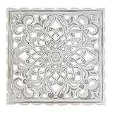 Hogar y Mas Retablo Decorativo para Pared en Madera Tallada, Color Blanco con Diseño Mándala 37X2X37 cm (A)