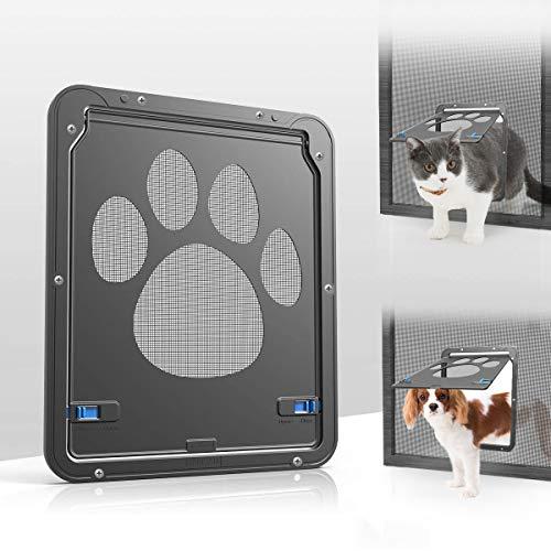 Namsan Cat Screen Door - Inside Size 8.25x10.4 inches Sliding Screen Doggie Door with Magnetic Flap for Exterior Doors Lockable Cat Door
