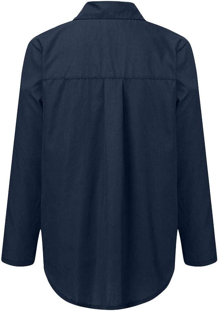 NEEKY Damen Freizeit Schlank Blusen - Frauen Lässig Langarm Button Front Shirt Umlegekragen Oberteile mit Taschen Marine