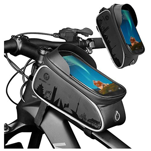 LEMONCOFFEE SHOP Waterproof Bicycle Phone Bag Outdoor Cycling Accessories Sun Visor Storage Bag TPU Touch Screen with Headphone Jack Mountain Bike Suitable for Smartphones Below 6.0
