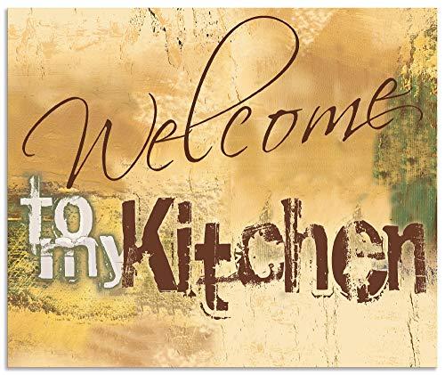 Artland Spritzschutz Küche aus Alu für Herd Spüle 60x50 cm Küchenrückwand mit Motiv Spruch Shabby Landhaus Kunst Willkommen Ocker H6ZJ