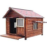 屋外用犬小屋 ペットの犬のハウスは、ベントとバルコニー用アウトドア&インドア使用、子犬や犬、ウッドドッグハウス犬小屋用ペットハウスシェルターを上げます ケンネル (Color : Natural, Size : XXXL)