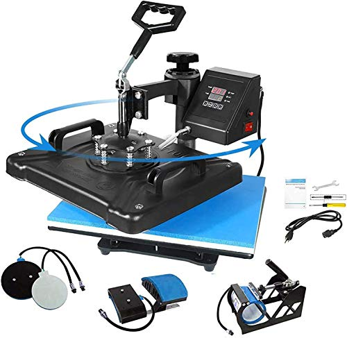 Aonesy Pro 5 in 1 Combo Heat Press Machine for T-Shirt Hat Cap Mug Plate, Multifunctional Swing Away 360-degree Rotation Digital Heat Transfer Sublimation Machine (Blue, 12 x 15 Inch)