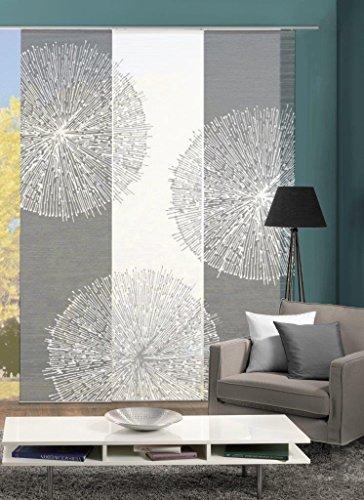 Vision S 88757-307   3er-Set Schiebegardine CROSTON   halb-transparenter Stoff in Bambus-Optik   3X 260x60 cm   Farben: Grau + Stein
