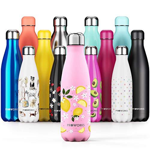 Proworks Edelstahl Trinkflasche   24 Std. Kalt und 12 Std. Heiß - Vakuum Wasserflasche - Isolierflasche für Sport, Laufen, Fahrrad, Yoga und Camping - 500ml - Zitronenblüte