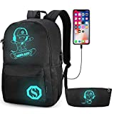 Pawsky Skateboard Anime Luminous Backpack School Backpack with USB Charging Port, Anti Theft Lock and Pencil Case for Teen Boys and Girls, College School Bookbag Lightweight Laptop Bag, Black