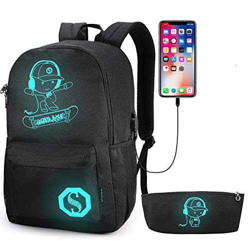School Backpack, Pawsky Anime Luminous Backpack with USB Charging Port, Anti Theft Lock and Pencil Case for Teen Boys and Girls, College School Bookbag Lightweight Laptop Bag, Black, 11.46.718.9inch