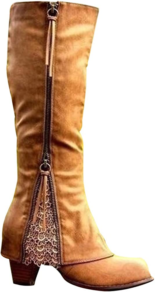 Vimisaoi Knee High Boots for Women Be super welcome Lo Lace Zipper Tassels Popular product Block