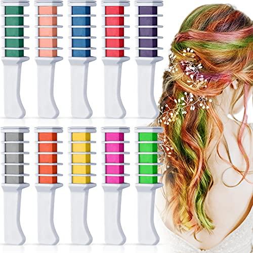 Kalolary 10 Farben Haarkreide Kamm für Kinder, Temporäre Haarfarbe Kreidekamm Haarfarbe Kamm Auswaschbar, Haar Colorationen Ungiftig Haarfarbe für Party Cosplay Halloween