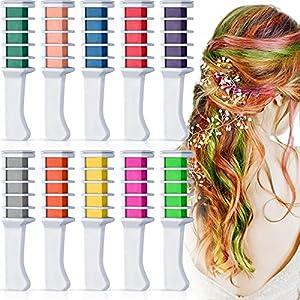 Kalolary 10 colores Tiza de Pelo, Tiza temporal para el cabello para niñas Hair Chalk Peine de tiza no tóxico, para niños, ideal para Navidad, cumpleaños, fiestas, regalos para niñas y niños