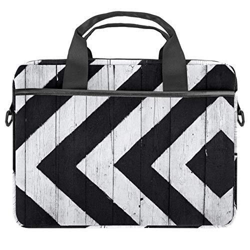 TIZORAX Laptoptasche, Holzplatte, Notebooktasche mit Griff, 38,1 - 39,1 cm (15-15,4 Zoll), Weiß / Schwarz