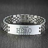 NJSDDB Pulsera Pulseras Personalizadas Pesadas para Hombres Hero Dad Regalo Brillante Reloj de Acero Inoxidable Banda Pulseira