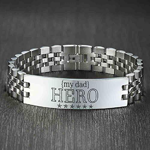 NJSDDB Armband Zware Gepersonaliseerde Armbanden voor Mannen Hero DAD Gift Glossy RVS Horlogeband Pulseira