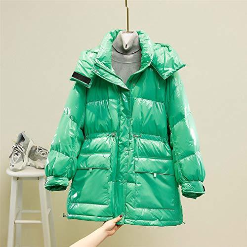 SJIUH Chaqueta de plumón, nueva chaqueta de invierno para mujer 90% pato blanco Down parkas con capucha espesar cálido femenino chaquetas de plumas de nieve amarillo púrpura pluma, verde claro, S