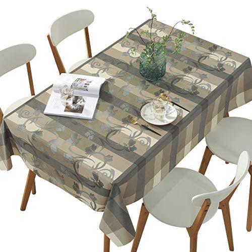Qualsen Tischdecke, PVC Tischdecken, Wasserabweisend Tischwäsche Garten Zimmer Tischdekoration, Karierte-Blume, 137 x 200cm