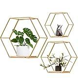 Juego de 3 estantes de pared hexagonales de metal, decorativos, estantería de...