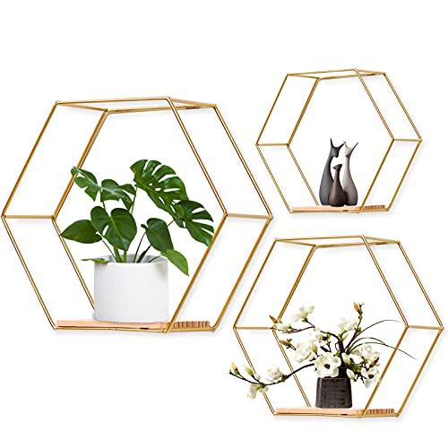 Estantes de Pared Hexagonales Juego de 3, Estante de Pared de Hierro, Estantes de Almacenamiento de Metal Flotante para Cocina, Baño, Sala de Estar, Dormitorio, Oficina(dorado) ⭐