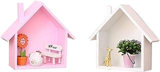 LIOOBO 2 Piezas Estante de Almacenamiento de Pared en Forma de casa de Madera Estante de Pared de Madera estantería Colgante Caja de Sombra casa de muñecas decoración de habitación de niños
