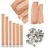 Candle Wicks, Homo Trends 60PCS Wooden Wick Candle with Iron Stand Candle Wick Holder for Candle Making, Candle DIY Craft, 6 Sizes