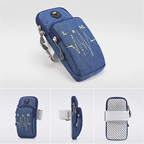 Funda para brazalete de teléfono, compatible con iPhone 5S, SE, 6, 6S, 7, 8 X, Plus, iPod, Android, Samsung Galaxy S5, S6, S7, S9, color negro y azul