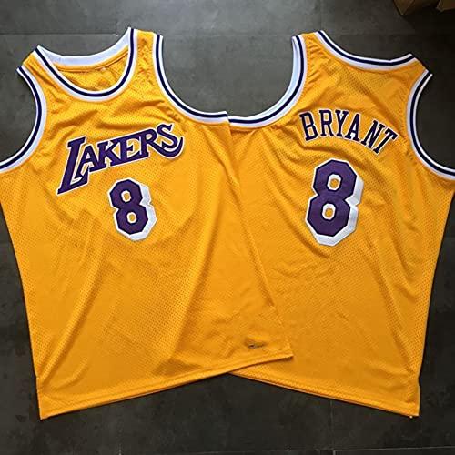 TINKOU Maglia Sportiva Uomo Maglia Basket, NBA Lakers #8 Gilet Palestra In Rete Dorata Camicia In Tessuto Traspirante Asciutto S-XXL