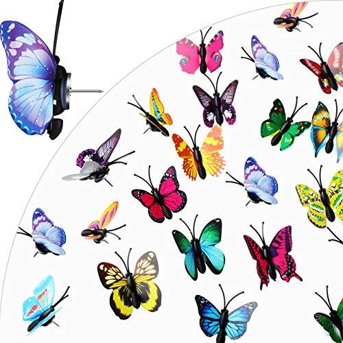100 Pieces Butterfly Push Pins Photo Map Pins Thumb Tacks for Photos Wall, Bulletin Board, Cork Boards (Random Pattern)