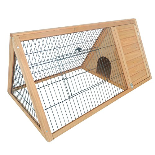 Pawhut Outdoor Triangular Wooden Rabbit Hutch